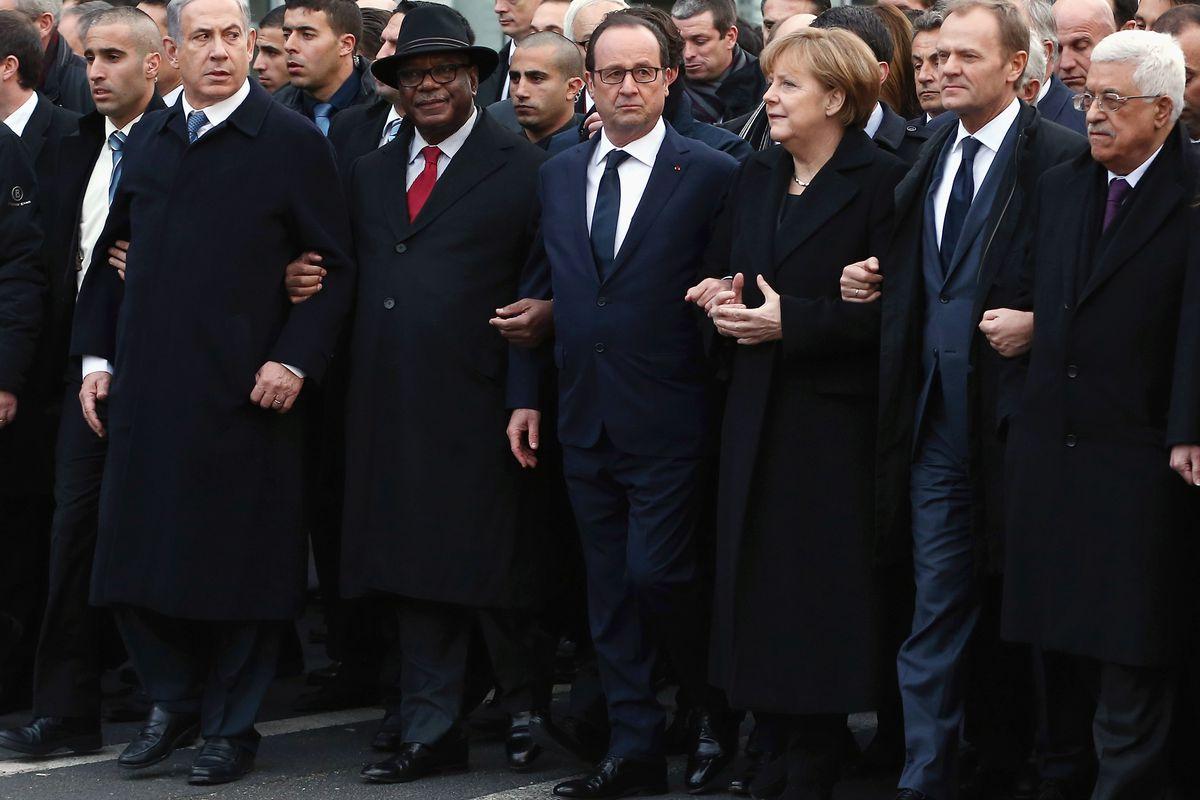 Israeli PM Benjamin Netanyahu, Malian president Ibrahim Boubacar Keïta, French president François Hollande, German chancellor Angela Merkel, European Council president Donald Tusk, and Palestinian president Mahmoud Abbas in Paris.