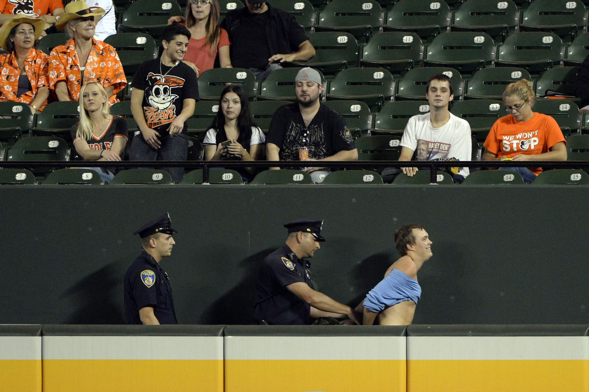 Don't run onto the field. You will be arrested like this guy.