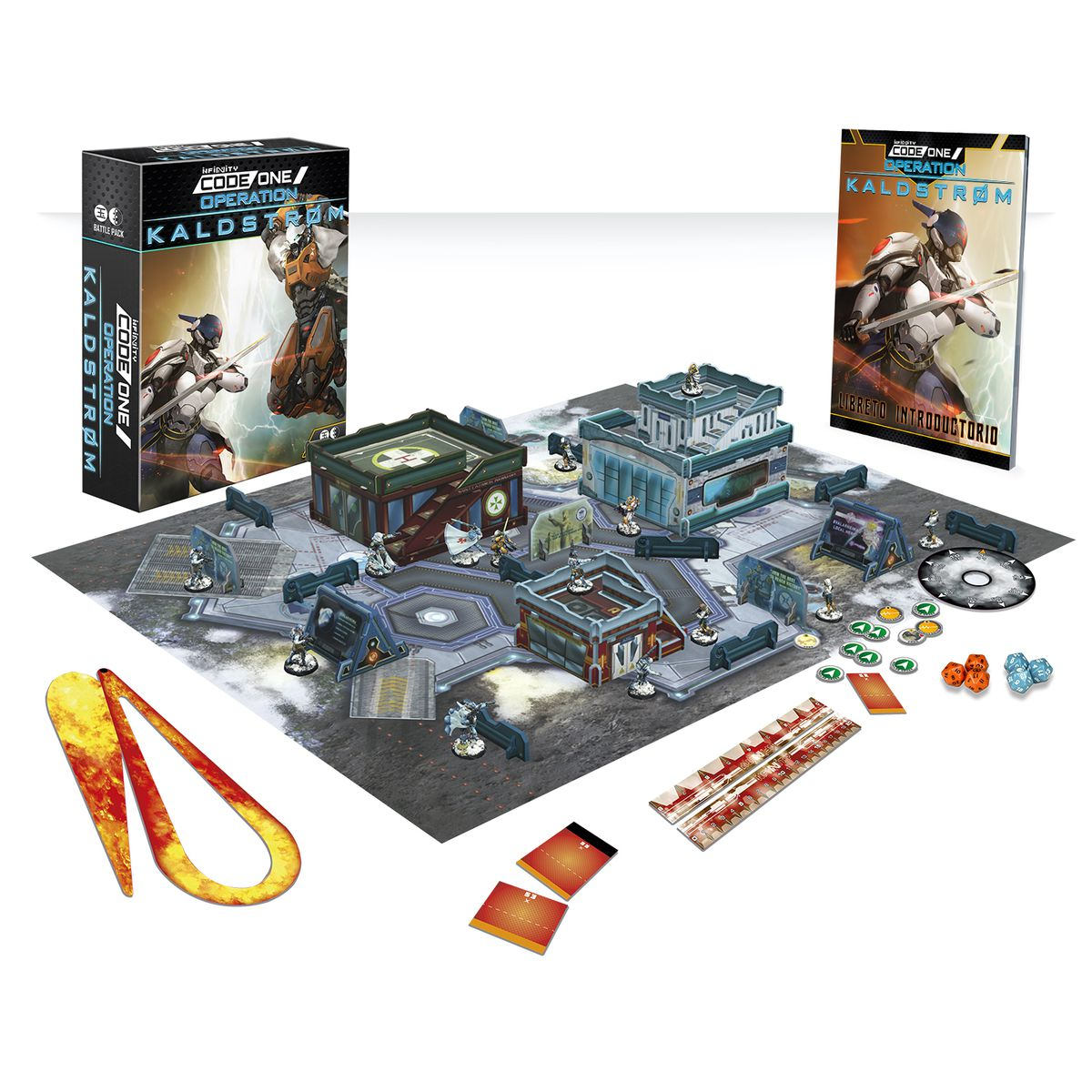 A render showing a play mat, miniatures, dice, and more.