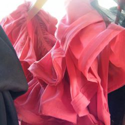 A close-up on the pink ruffled dress