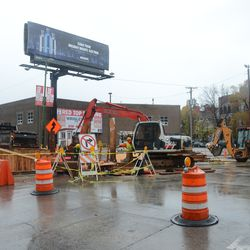 11:47 a.m. View looking northeast. Utility work at Waveland and Clark -