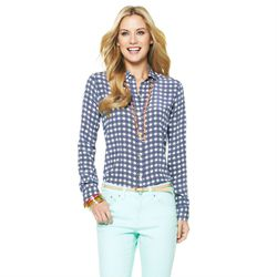 "<a href=""http://www.cwonder.com/silk-tile-printed-shirt-10.html"">Silk Tile Printed Shirt</a> in Marine and Azalea, $128"
