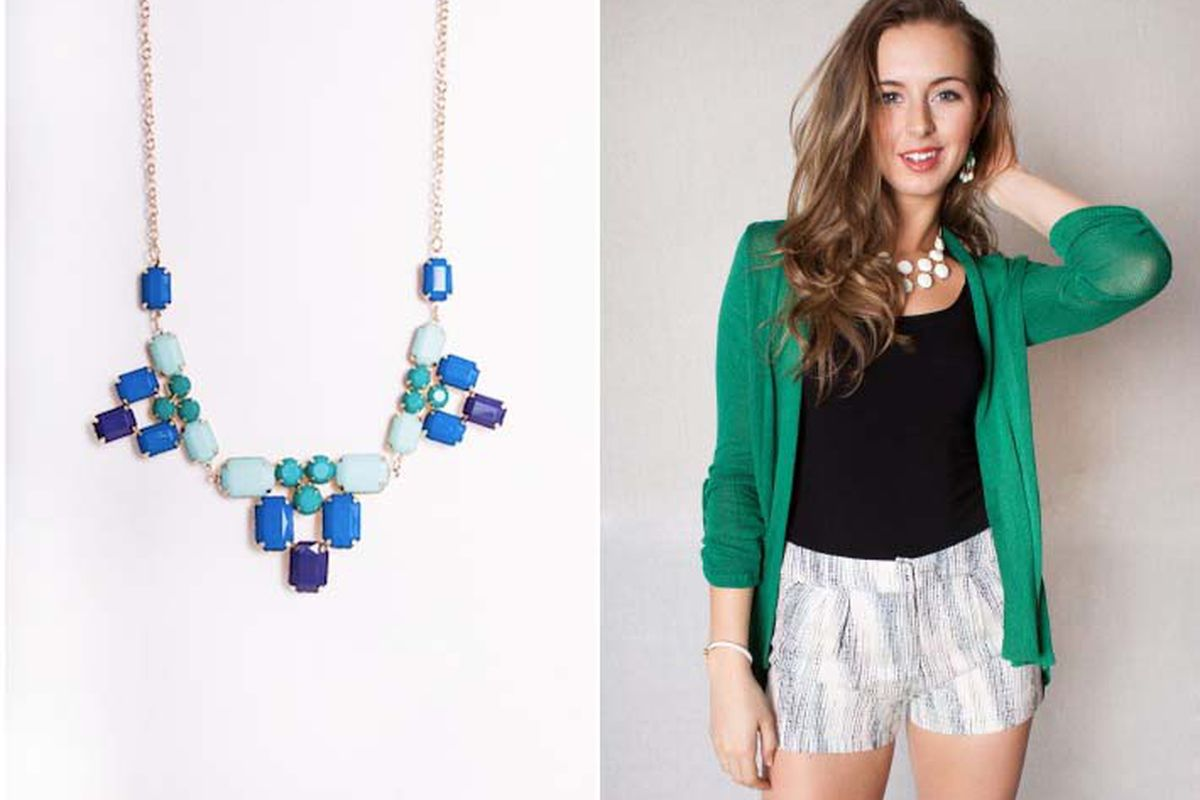 """The poppy necklace in blue ($40) and the <a href=""""http://www.bevello.com/outerwear/jackets/draped-shawl-cardigan-in-emerald"""">long shawl cardigan in emerald</a> ($30)"""