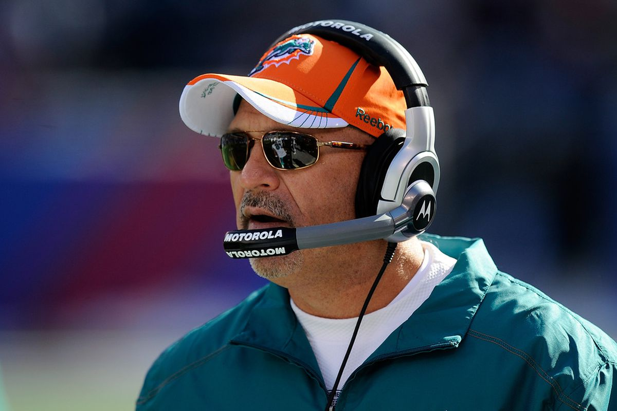 EAST RUTHERFORD, NJ - OCTOBER 30:  Head coach Tony Sparano of the Miami Dolphins looks on during a game against the New York Giants at MetLife Stadium on October 30, 2011 in East Rutherford, New Jersey.  (Photo by Patrick McDermott/Getty Images)