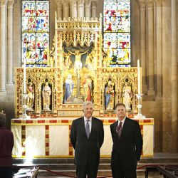 Elder D. Todd Christofferson, of the Quorum of the Twelve Apostles of The Church of Jesus Christ of Latter-day Saints, gets a tour from Philip Tootill at the Christ Church, Oxford University Cathedral prior to speaking in Oxford, England on Thursday, June 15, 2017.