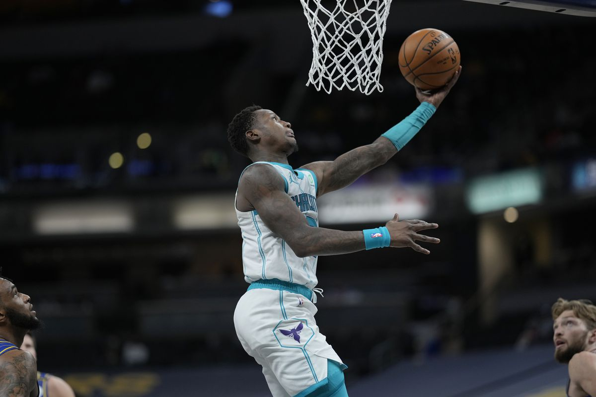 Terry Rozier #3 of the Charlotte Hornets drives to the basket against the Indiana Pacers during the 2021 NBA Play-In Tournament on May 18, 2021 at Bankers Life Fieldhouse in Indianapolis, Indiana.