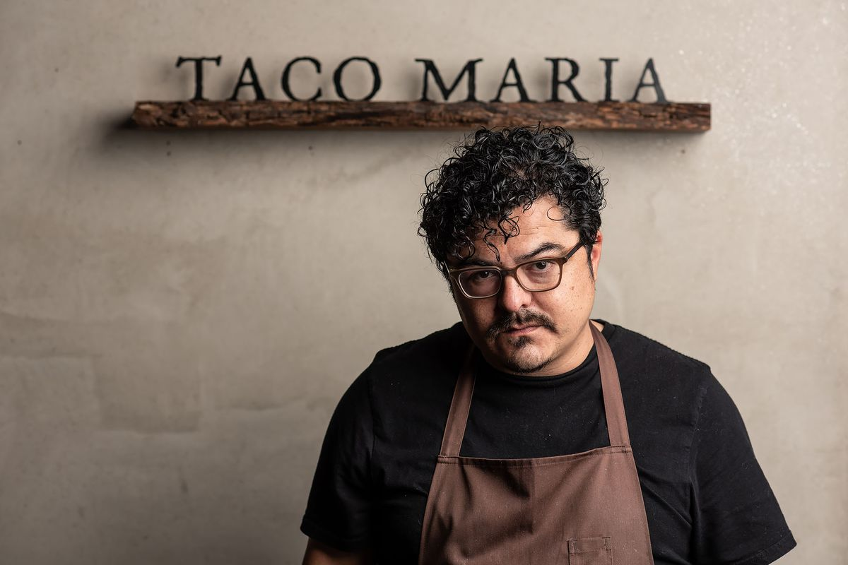 Carlos Salgado outside his restaurant Taco Maria in Costa Mesa, California