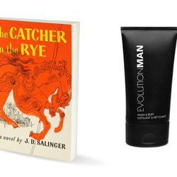 """For Holden Caulfield: <a href=""""http://www.birchbox.com/men/skincare/evolution-man-wash-and-buff"""">EvolutionMan's Wash and Buff cleanser</a> to give to his pimply hallmate Ackley, to make him go away"""