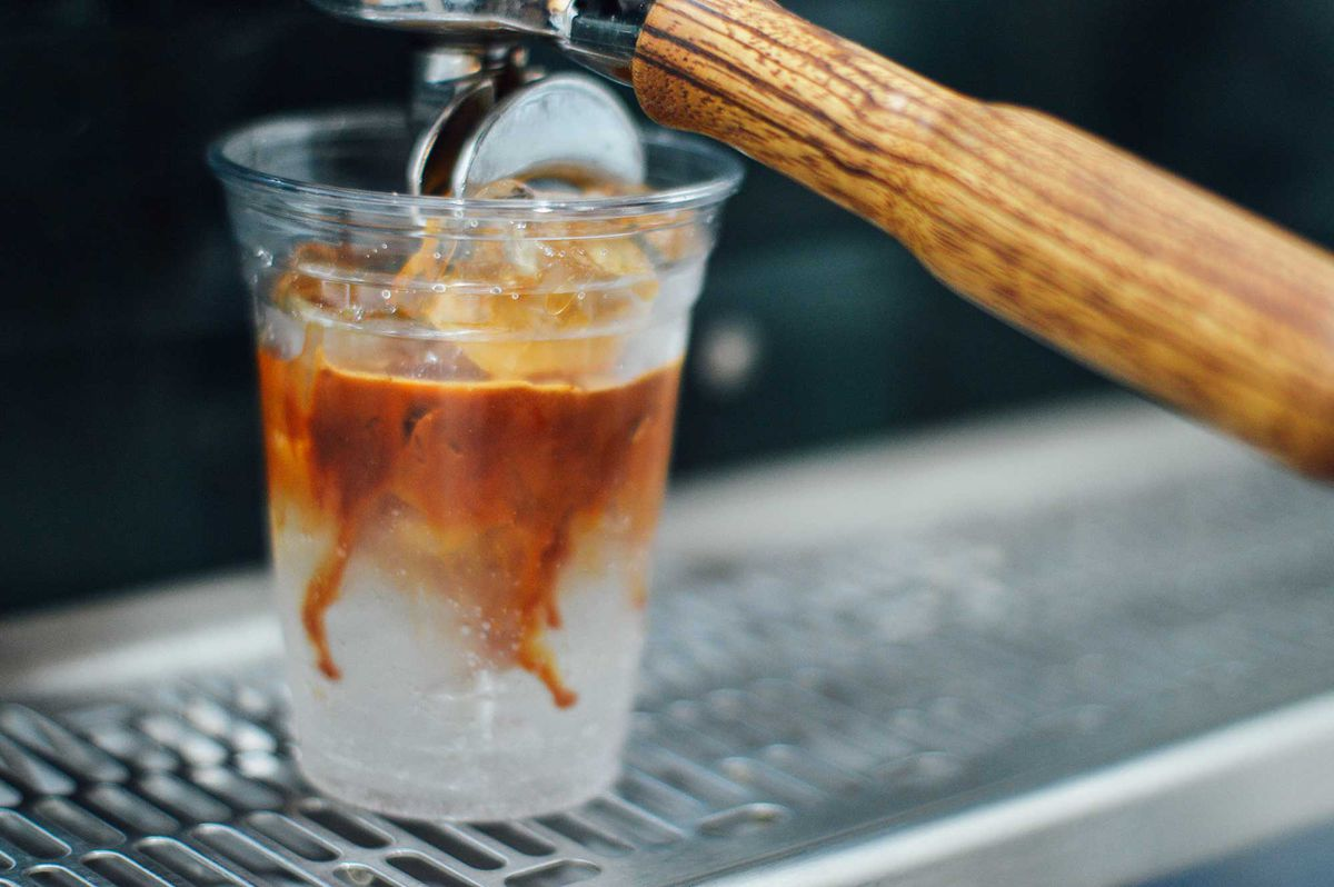 Photo: Pulling an espresso shot on top of the tonic.