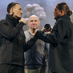 Max Holloway and Brian Ortega square off at UFC 231 presser.