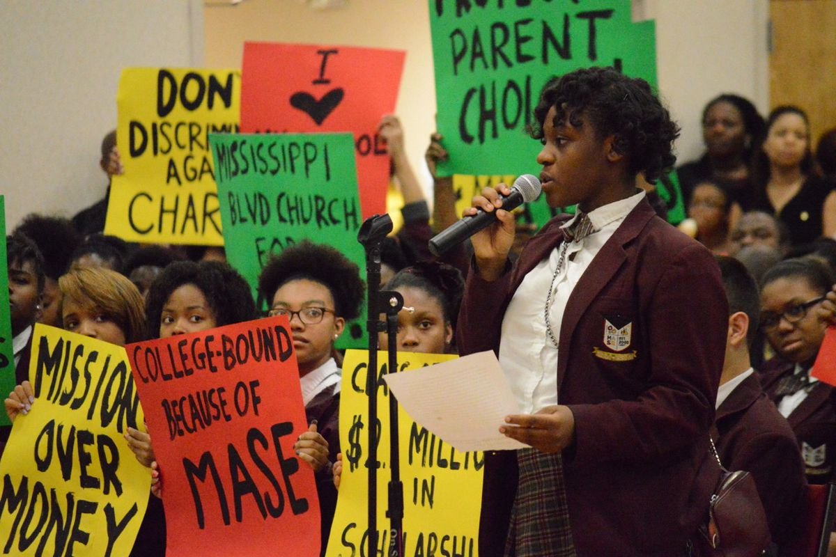 Student Jociana Gilkey speaks in behalf of Memphis Academy of Science and Engineering, a Memphis charter school proposed for closure by administrators for Shelby County Schools.