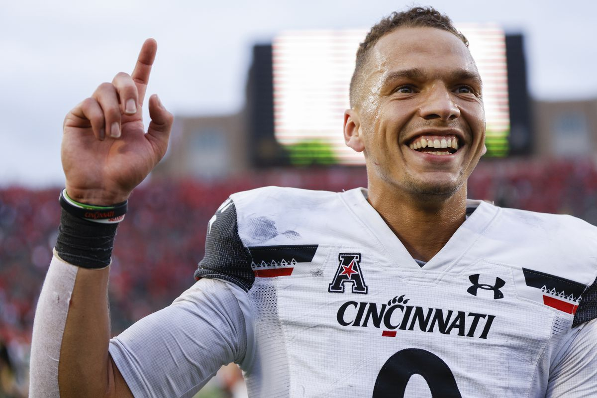 Desmond Ridder of the Cincinnati Bearcats is seen after the game against the Notre Dame Fighting Irish at Notre Dame Stadium on October 2, 2021 in South Bend, Indiana.