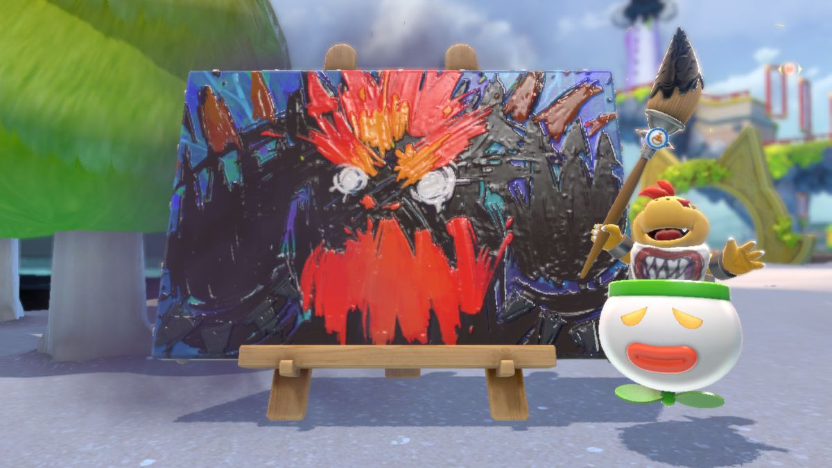 Bowser Jr. finishes a messy painting of his father, who has turned into a kaiju. The painting is cheap, like one of those splatter paintings that gets presented as high art at supposedly ritzy stores outside Disneyland.