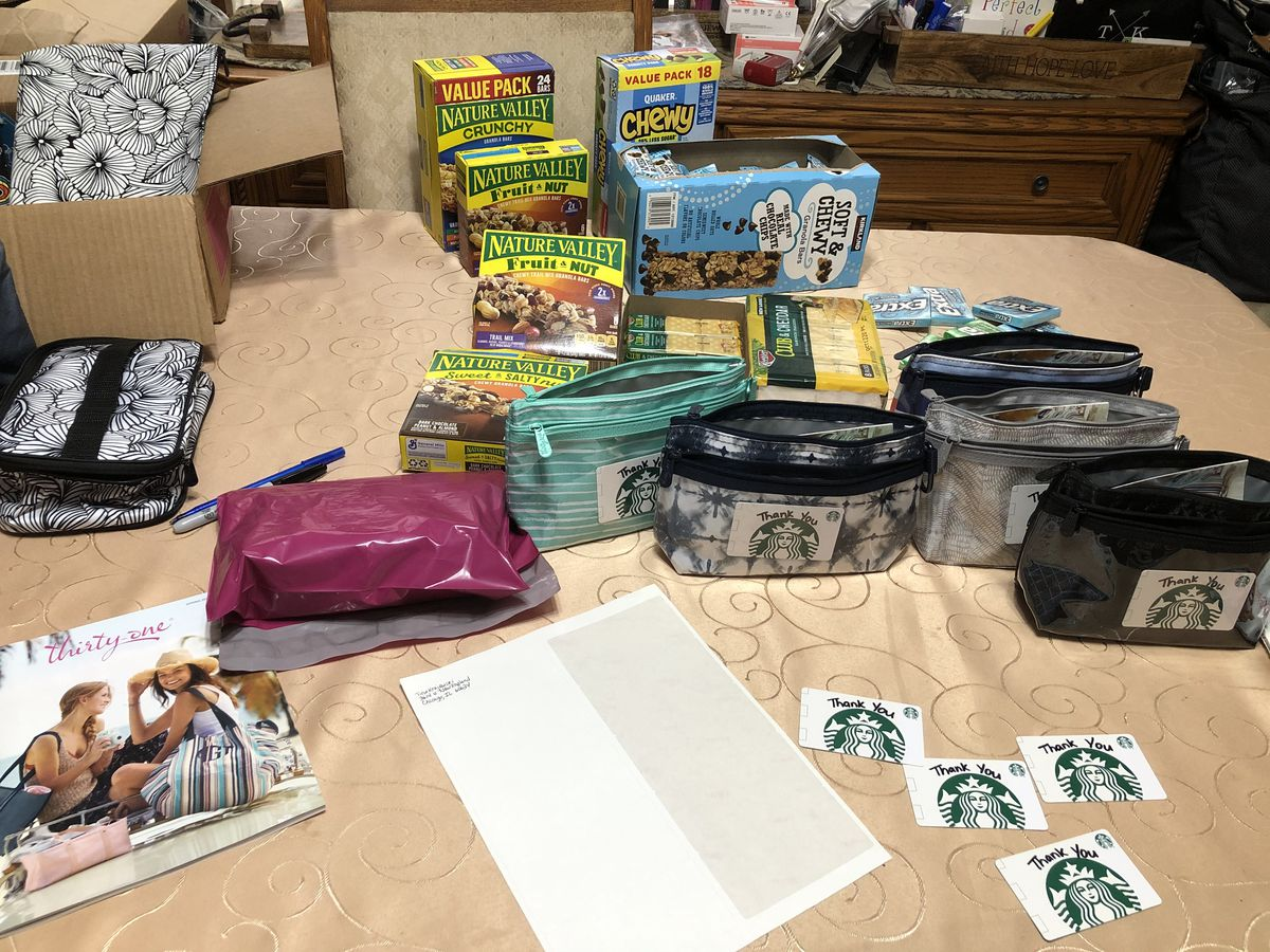 Some pouches that Tina Krajewski is putting together with the help of donations from family and friends as thank-yous for nurses and other medical professionals.