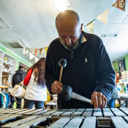 """John """"Shady"""" Lain plays xylophone as he entertains patrons at Home Grown."""
