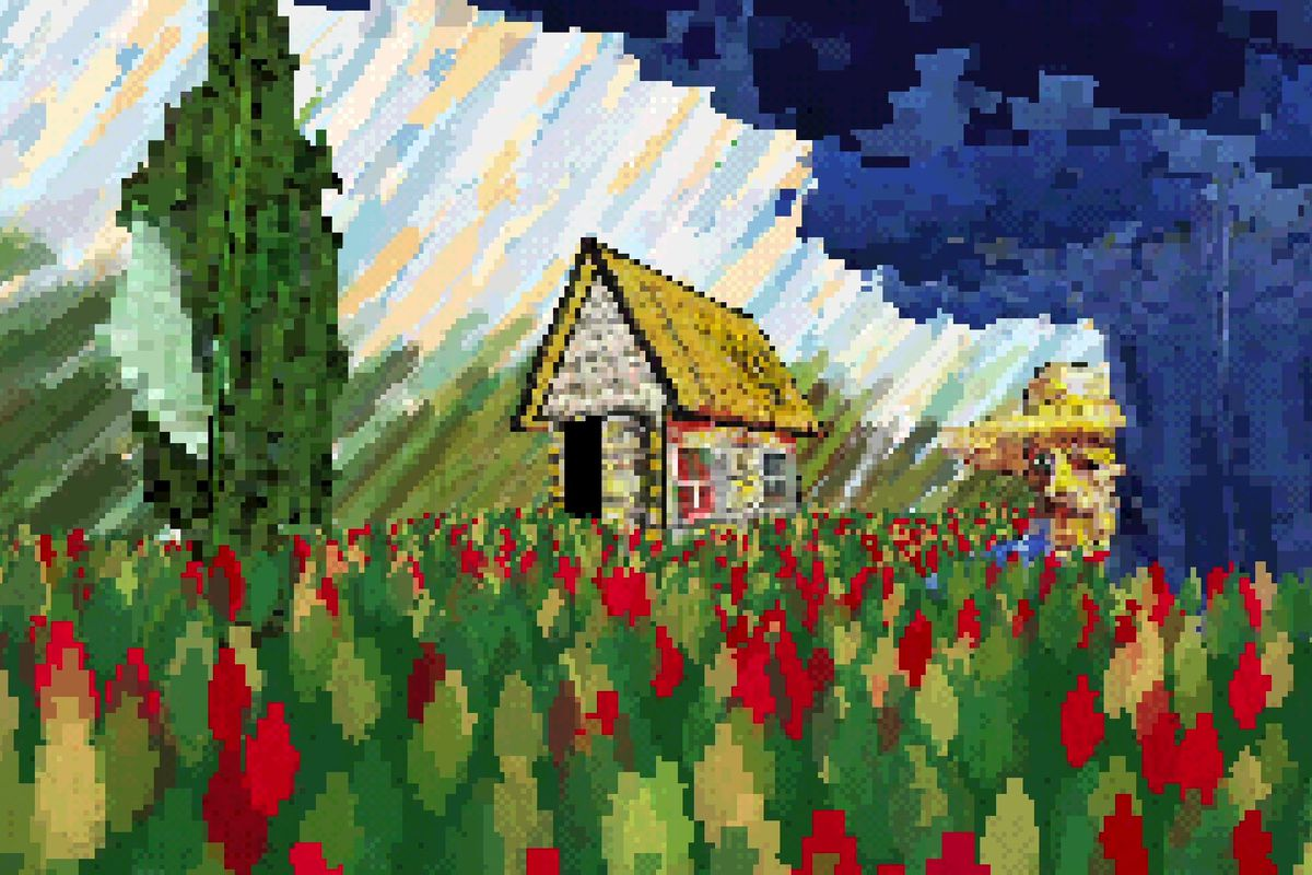 a digital, pixelated painting of a house with red flowers in front of it