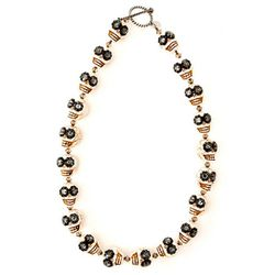 """<b>SheBee</b> The Barbara in white, <a href=""""http://shebee.com/necklaces/the-barbara/white-with-grey.html"""">$350</a> at Blue Tree"""