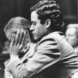 Ted Bundy presses his palms together as judge Edward C. Cowart reads the verdict of the jury of the Theodore Bundy double murder trial in the Dade County courtroom in Miami, Fla., on July 30, 1979.  The jury asked for the death penalty for Bundy, who was convicted last week for the murders of two sorority sisters in Tallahassee, Fla., in 1978.