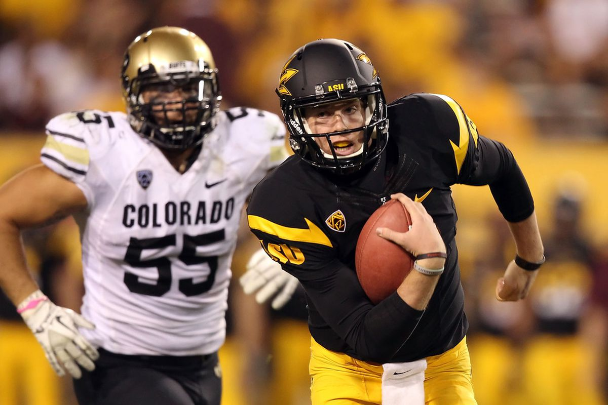 Taylor Kelly has a chance to run away with the starting QB job at Camp T (Photo by Christian Petersen/Getty Images)