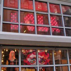 Lola in lights in Soho.