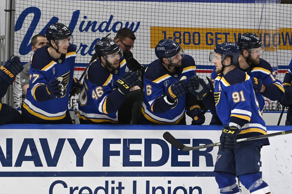 May 23, 2021; St. Louis, Missouri, USA; St. Louis Blues right wing Vladimir Tarasenko (91) is congratulated by teammates after scoring a goal against the Colorado Avalanche in the third period in game four of the first round of the 2021 Stanley Cup Playoffs at Enterprise Center.