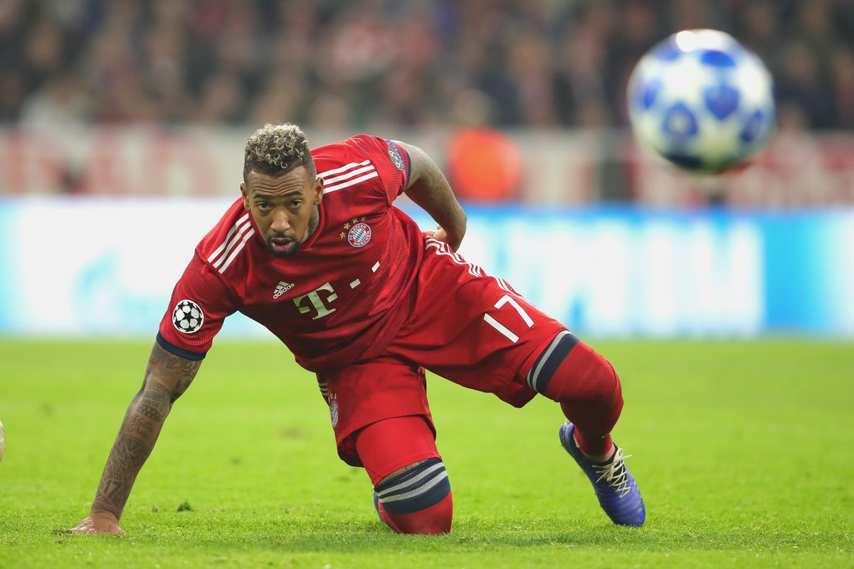 MUNICH, GERMANY - NOVEMBER 07: Jerome Boateng of Bayern Muenchen looks on during the Group E match of the UEFA Champions League between FC Bayern Muenchen and AEK Athens at Allianz Arena on November 7, 2018 in Munich, Germany.