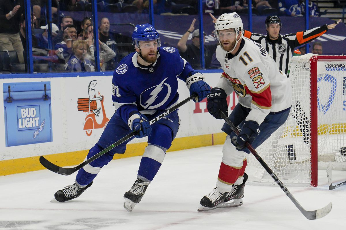 Florida Panthers left wing Jonathan Huberdeau (11) and Tampa Bay Lightning defenseman Erik Cernak (81) during the NHL Hockey Stanley Cup playoff match between the Tampa Bay Lightning and Florida Panthers on May 22, 2021 at Amalie Arena in Tampa, FL.