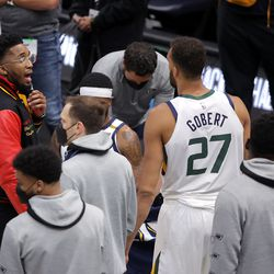 Utah Jazz guard Donovan Mitchell (45) talks to his teammates during a timeout as the Utah Jazz and the Memphis Grizzlies play in game one of their NBA playoff series at Vivint Arena in Salt Lake City on Sunday, May 23, 2021. Memphis won 112-109.