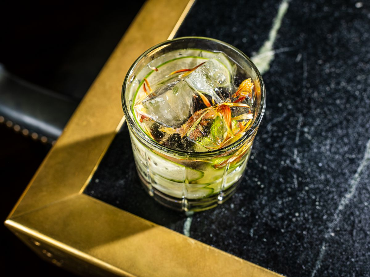 A garden gin and tonic from No Goodbyes comes with shaved cucumber and flowers