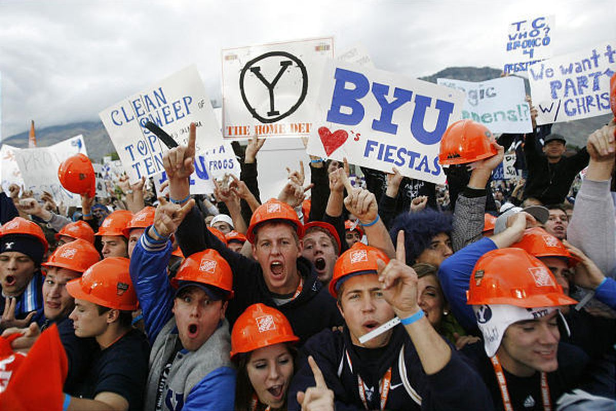 BYU fans cheer during the ESPN Game Day broadcast near LaVell Edwards Stadium in Provo during the 2009 season.