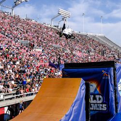 Colton Satterfield performs the BMX Best Trick at Nitro World Games in Salt Lake City on July 16, 2016.