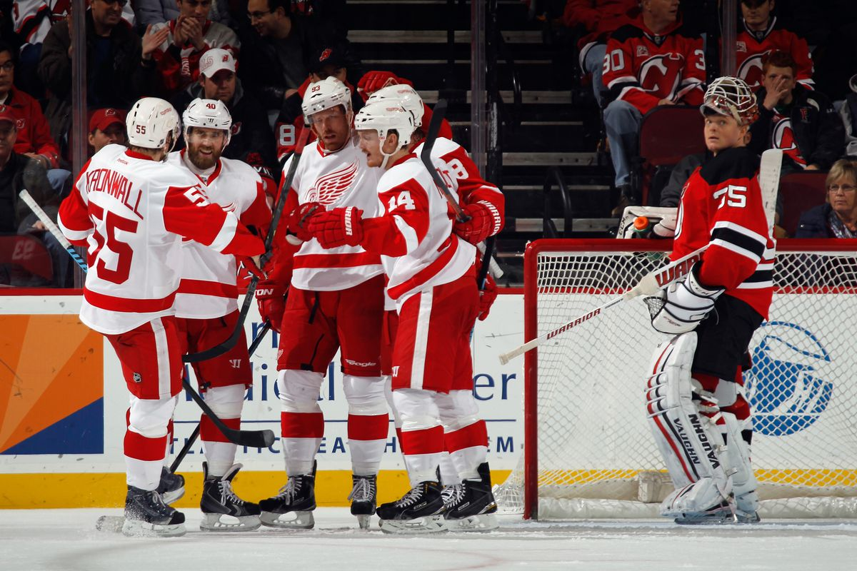 The Red Wings do this a lot.  Score and celebrate said scores.