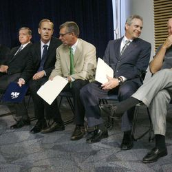 Left to right; Kevin Worthen, Advancement VP at BYU, BYU President Cecil Samuelson, BYU A.D. Tom Holmoe, Dave Brown V.P. of Programming for ESPN, WCC Commissioner Jamie Zaninovich and former BYU football coach LaVell Edwards gather before BYU officials announce going independent in football and joining the WCC for other sports and their contract wit ESPN. Wednesday, Sept. 1, 2010