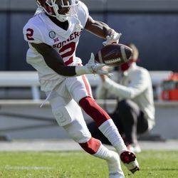 Oklahoma wide receiver Theo Howard warms up before a game against TCU, Saturday, Oct. 24, 2020, in Fort Worth, Texas. Howard, who played three seasons at UCLA before becoming a Sooner, is now a part of the Ute receiving corps.
