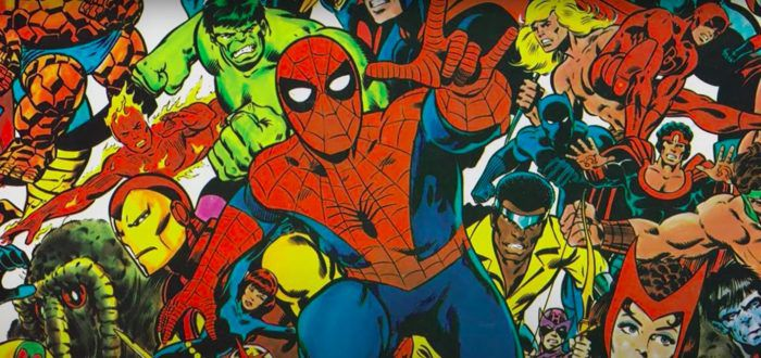 A collage of Marvel superheroes including Spiderman, Iron Man, the Hulk, Luke Cage, Black Panther, and more.