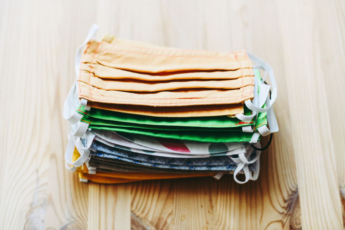 A stack of homemade fabric face masks