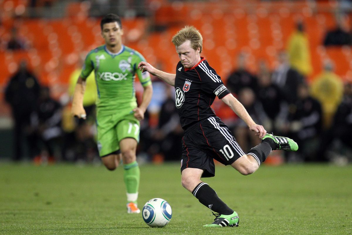 WASHINGTON, DC - MAY 4: Dax McCarty #10 of D.C. United controls the ball against the Seattle Sounders at RFK Stadium on May 4, 2011 in Washington, DC. (Photo by Ned Dishman/Getty Images)