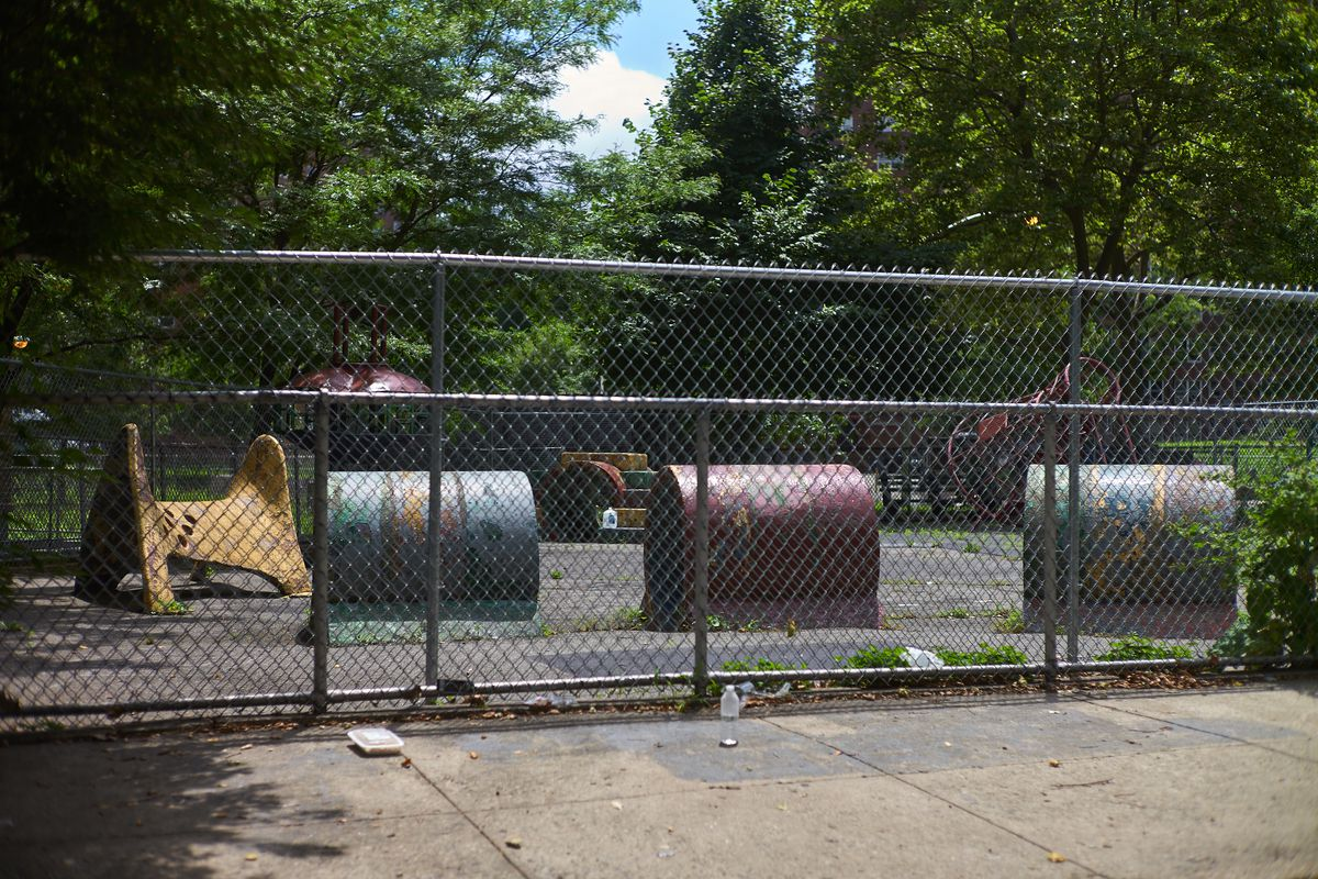 An aging, off-limits playground at the Albany Houses in Brooklyn, July 15, 2020.