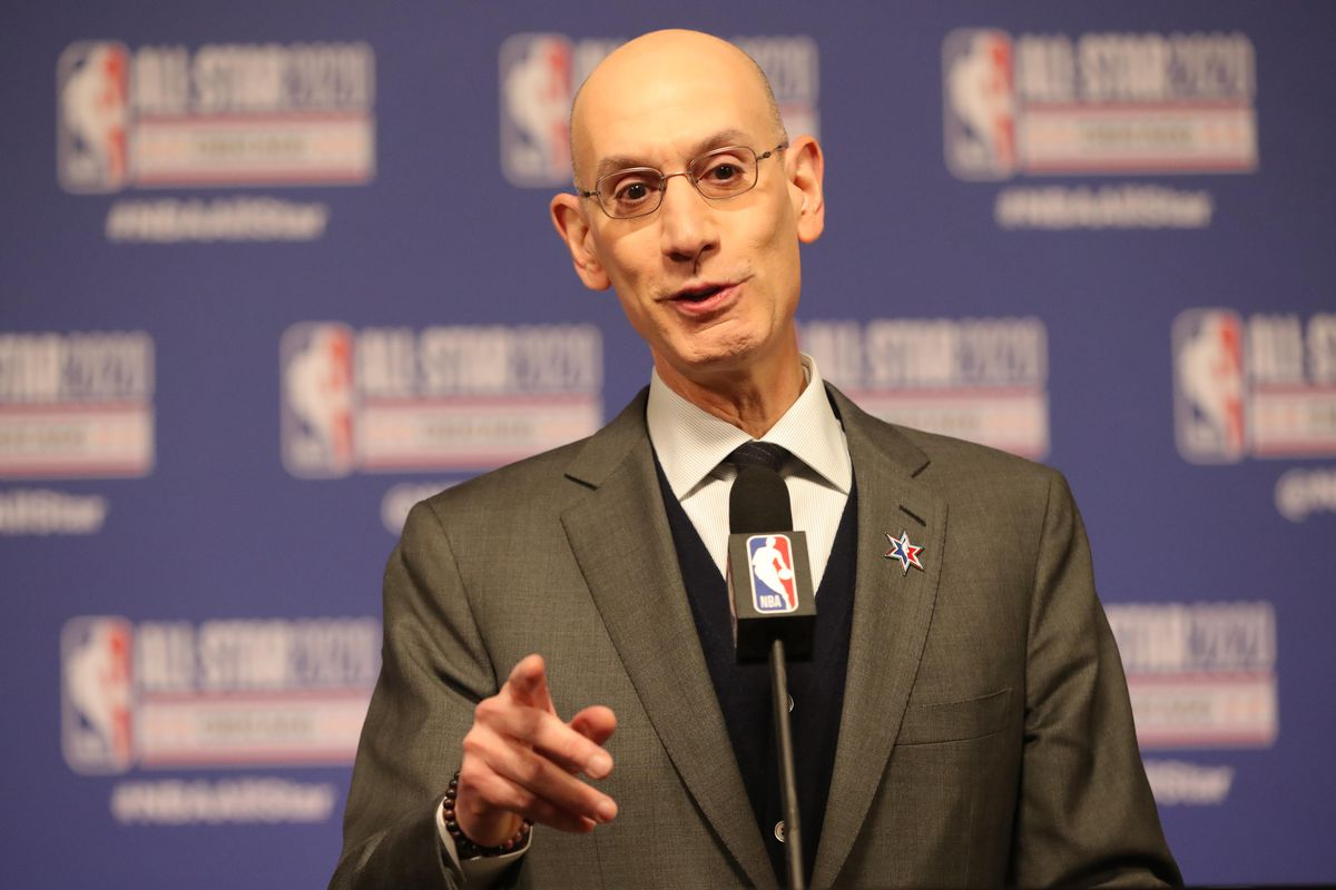 NBA commissioner Adam Silver speaks at a press conference during NBA All Star Saturday Night at United Center.