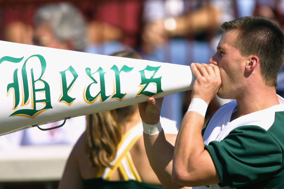 NORMAN, OK - OCTOBER 20:  A Baylor Bears cheerleader yells through a megaphone before the Big 12 Conference football game against the Oklahoma Sooners on October 20, 2001 at Memorial Stadium in Norman, Oklahoma.  The Sooners defeated the Bears 33-17.  (Photo by Ronald Martinez/Getty Images)