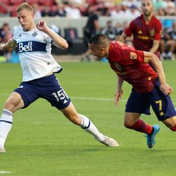 Real Salt Lake forward Bobby Wood (7) tries to head the ball past Vancouver Whitecaps midfielder Andy Rose (15) at the goal as Real Salt Lake and Vancouver FC play at Rio Tinto Stadium in Sandy on Wednesday, July 7, 2021.