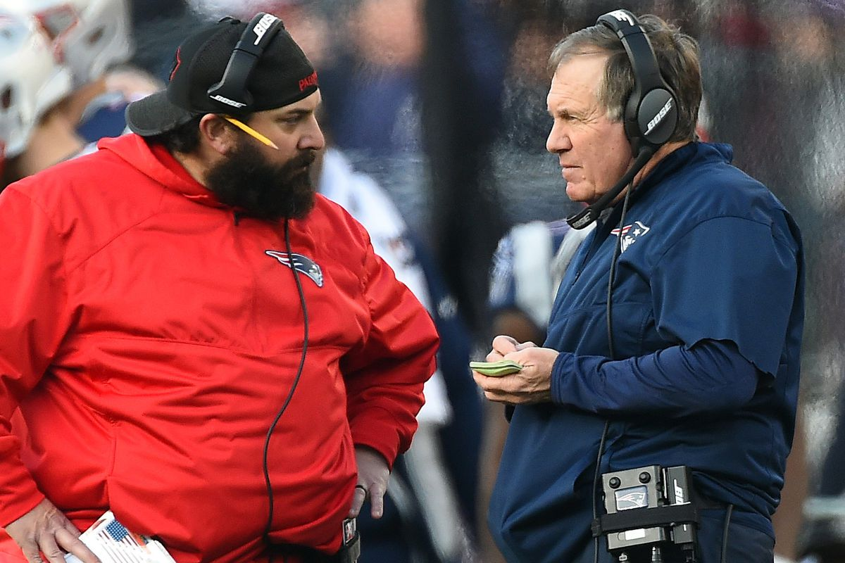 (Foxboro, MA, 01/21/18) New England Patriots' defensive coordinator Matt Patricia, left, and head coach Bill Belichick confer on the sidelines during the second quarter of the AFC championship NFL football game against the Jacksonville Jaguars at Gil