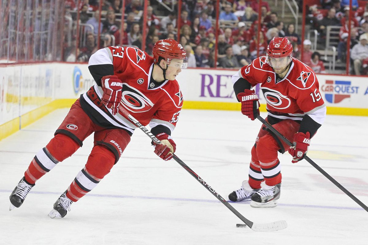 March 30, 2012; Raleigh, NC, USA; Jeff Skinner delivering a drop pass to Tuomo Ruutu, a popular combination this season. Mandatory Credit: James Guillory-US PRESSWIRE