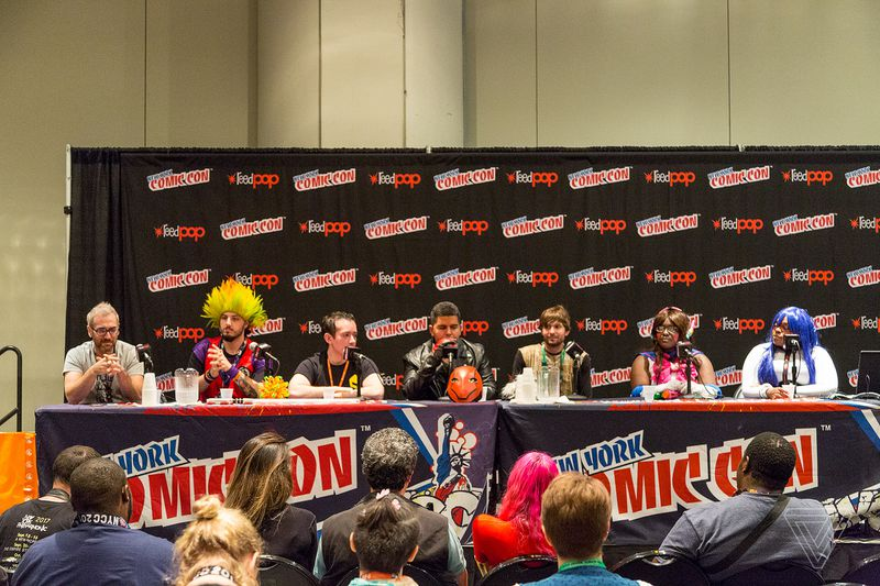 Cosplay and Disability panelists speaking to a crowd at NYCC