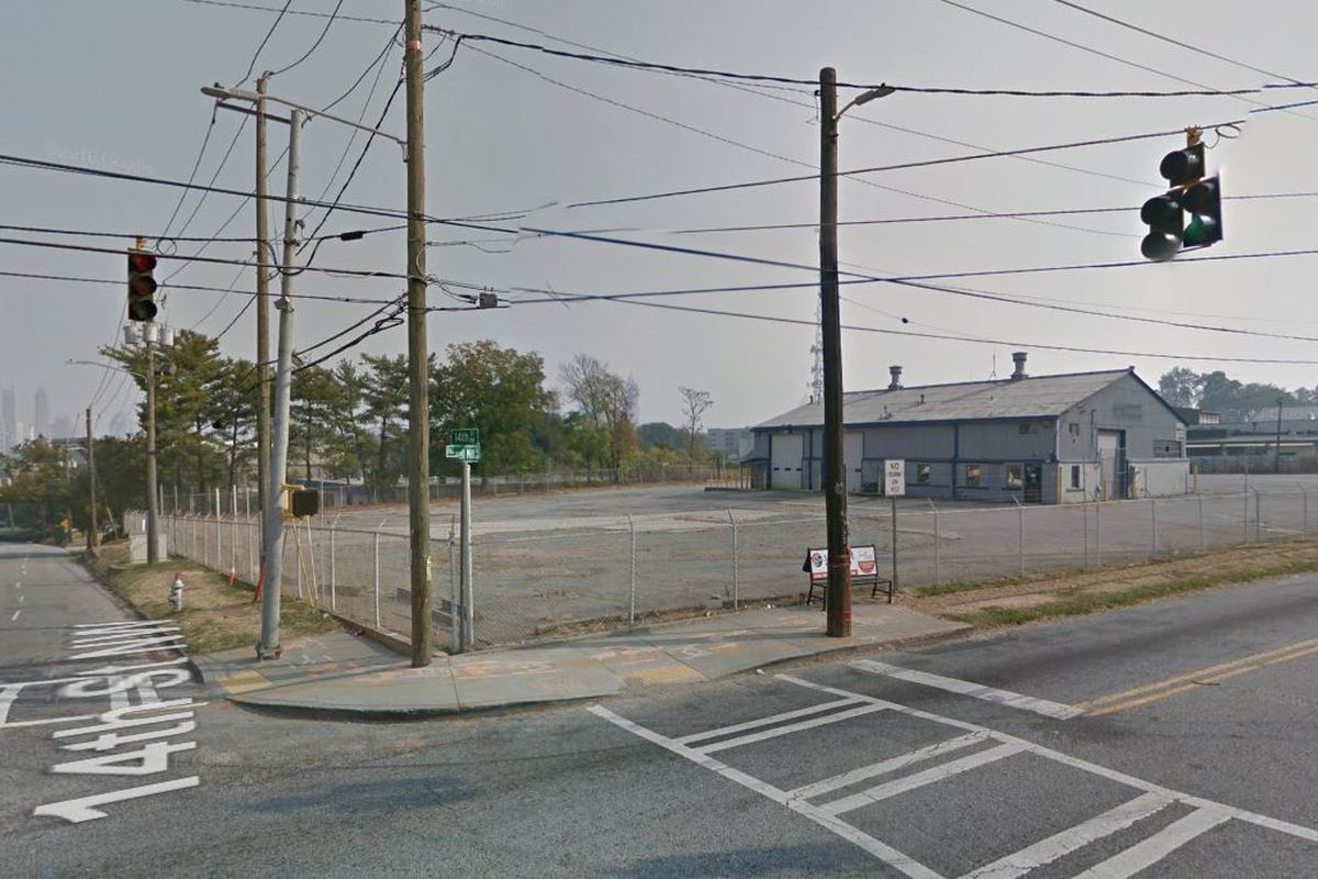 The vacant site which used to house United Tool Rental offers views of the Midtown skyline down 14th Street.