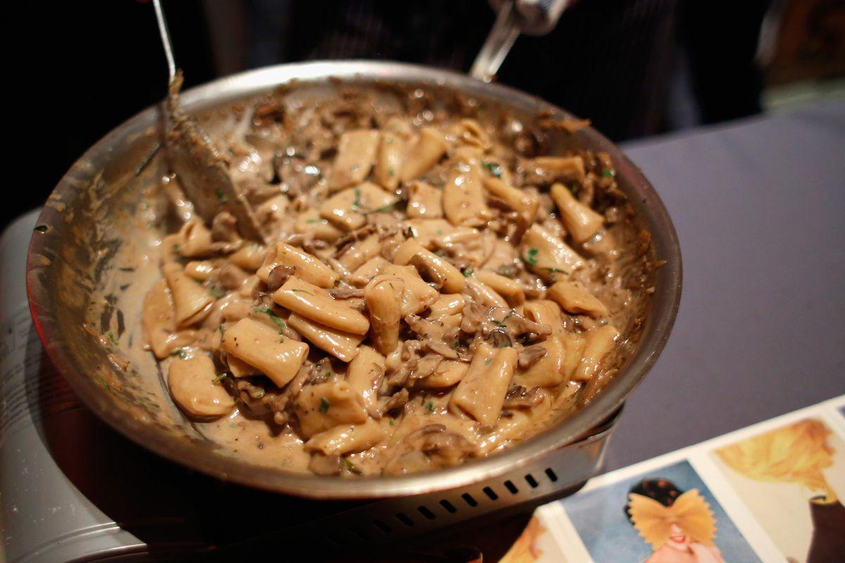 Rigatoni with mushroom marsala ragu