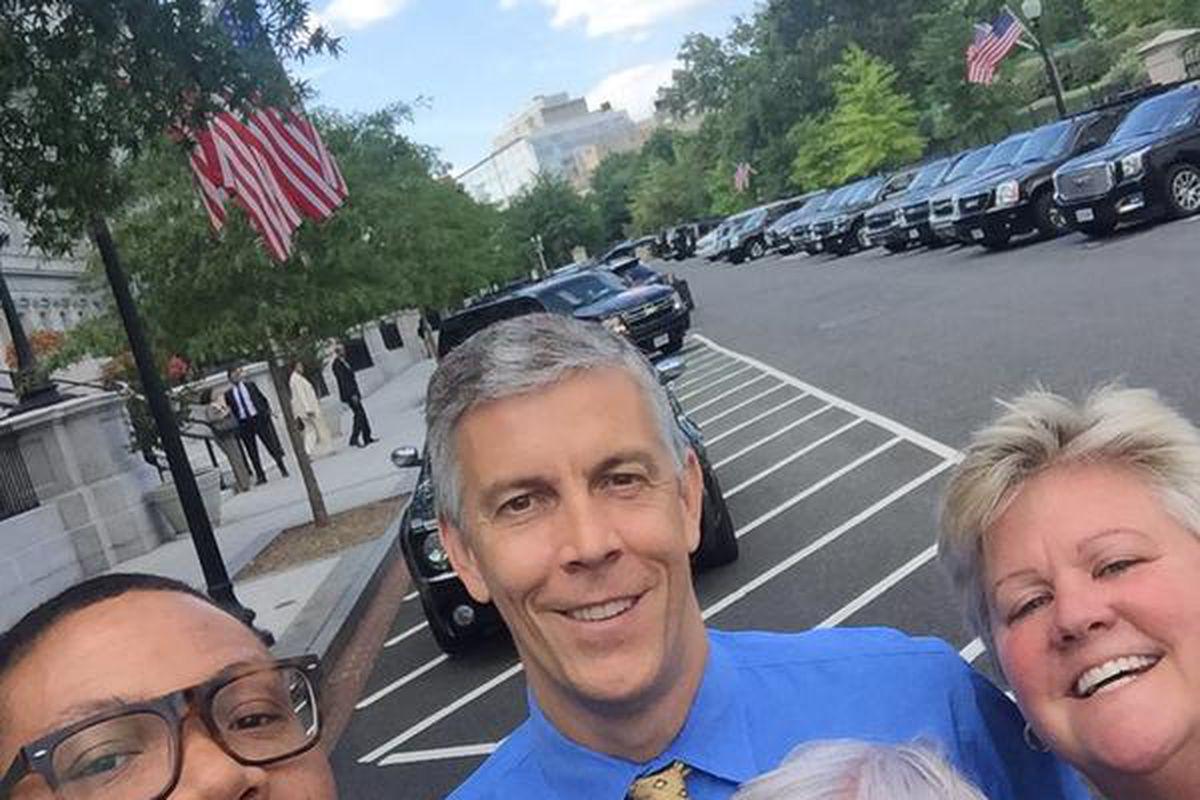 IPS Superintendent Lewis Ferebee snapped this selfie with Positive Discipline Coordinator Cindy Jackson, Arsenal Tech Principal Julie Bakehorn and U.S. Secretary of Education Arne Duncan Wednesday following the #RethinkDiscipline Summit in Washington D.C.