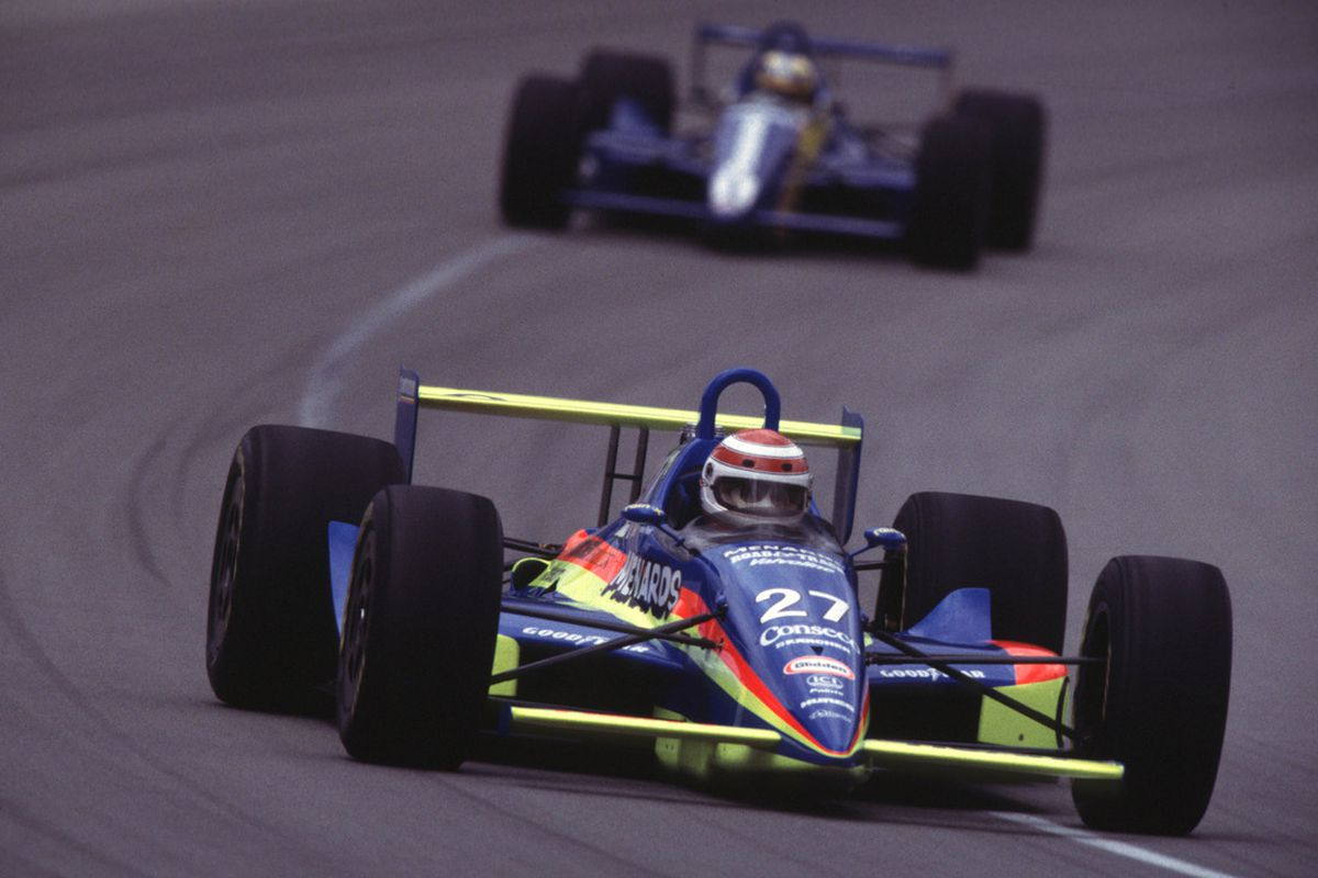 This IndyCar driven by Nelson Piquet is beautiful - and it is twenty years old. Piquet's son is now an established racer. (Photo: IndyCar/IMS)