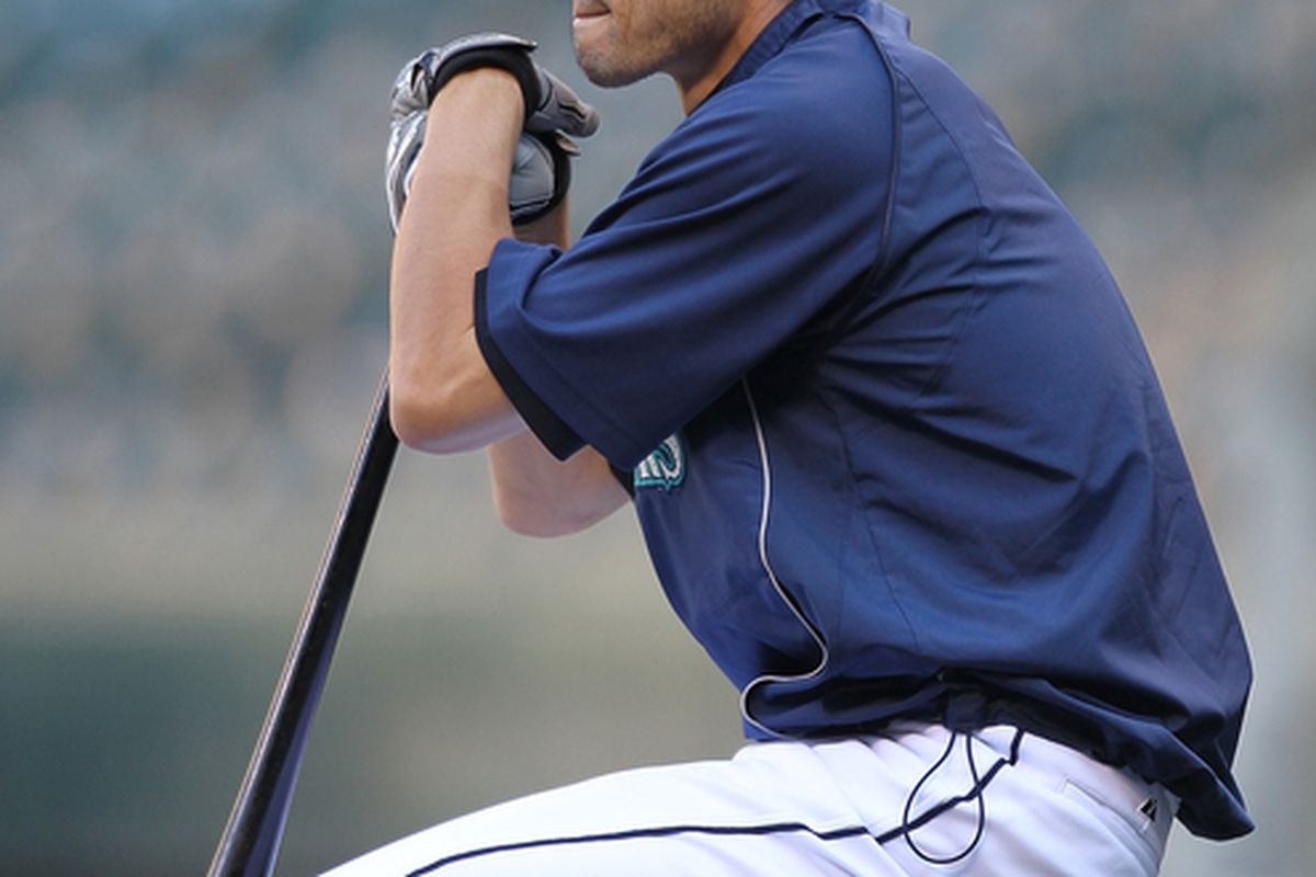 SEATTLE - SEPTEMBER 14:  Ichiro Suzuki #51 of the Seattle Mariners waits to hit during batting practice prior to the game against the Boston Red Sox at Safeco Field on September 14 2010 in Seattle Washington. (Photo by Otto Greule Jr/Getty Images)