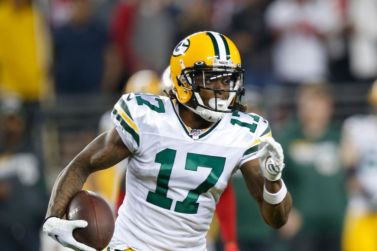 Davante Adams of the Green Bay Packers runs after making a reception during the game against the San Francisco 49ers at Levi's Stadium on January 19, 2020 in Santa Clara, California. The 49ers defeated the Packers 37-20.